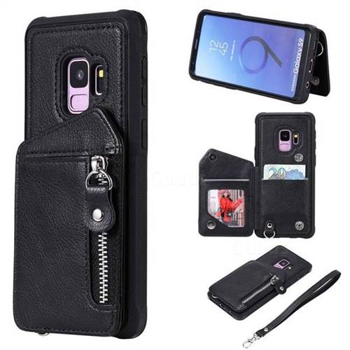 Classic Luxury Buckle Zipper Anti-fall Leather Phone Back Cover for Samsung Galaxy S9 - Black