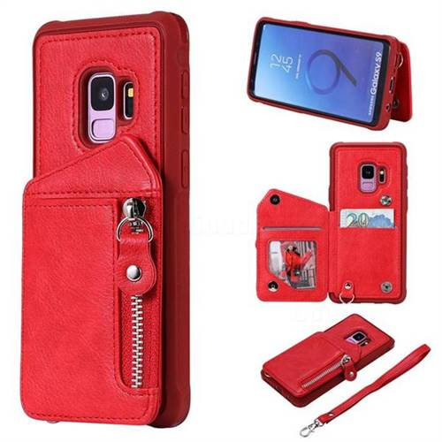 Classic Luxury Buckle Zipper Anti-fall Leather Phone Back Cover for Samsung Galaxy S9 - Red