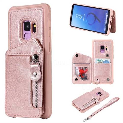Classic Luxury Buckle Zipper Anti-fall Leather Phone Back Cover for Samsung Galaxy S9 - Pink