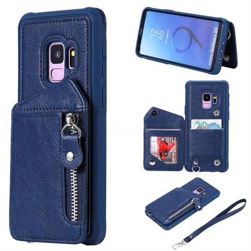 Classic Luxury Buckle Zipper Anti-fall Leather Phone Back Cover for Samsung Galaxy S9 - Blue