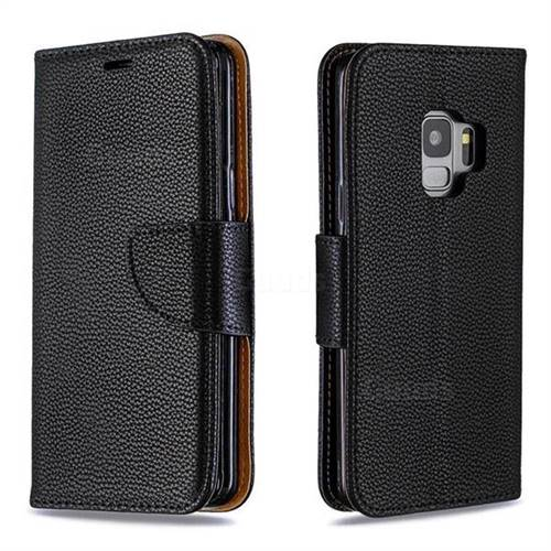 Classic Luxury Litchi Leather Phone Wallet Case for Samsung Galaxy S9 - Black