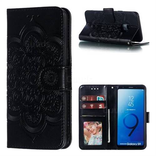 Intricate Embossing Datura Solar Leather Wallet Case for Samsung Galaxy S9 - Black