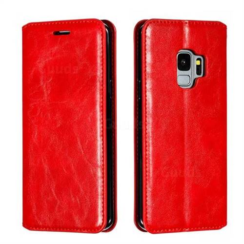 Retro Slim Magnetic Crazy Horse PU Leather Wallet Case for Samsung Galaxy S9 - Red
