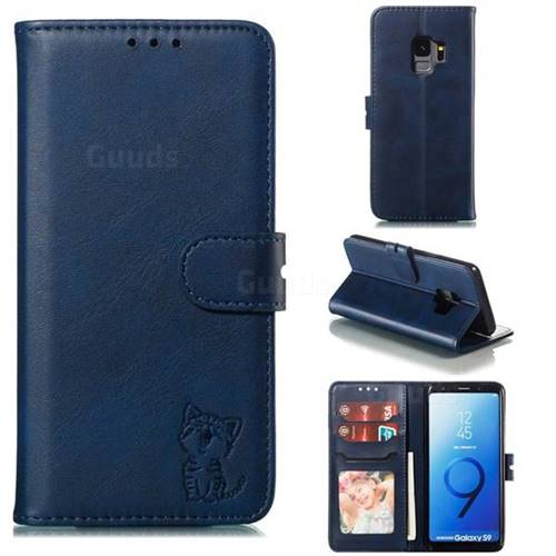Embossing Happy Cat Leather Wallet Case for Samsung Galaxy S9 - Blue