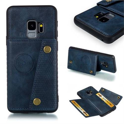 Retro Multifunction Card Slots Stand Leather Coated Phone Back Cover for Samsung Galaxy S9 - Blue