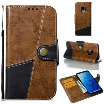 Retro Magnetic Stitching Wallet Flip Cover for Samsung Galaxy S9 - Brown