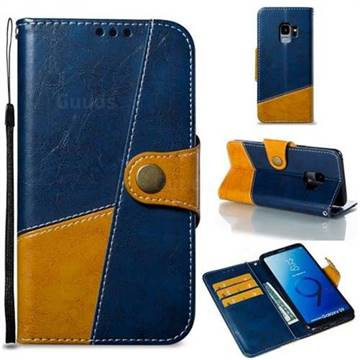 Retro Magnetic Stitching Wallet Flip Cover for Samsung Galaxy S9 - Blue