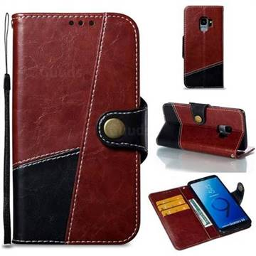 Retro Magnetic Stitching Wallet Flip Cover for Samsung Galaxy S9 - Dark Red