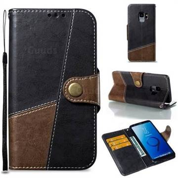 Retro Magnetic Stitching Wallet Flip Cover for Samsung Galaxy S9 - Dark Gray