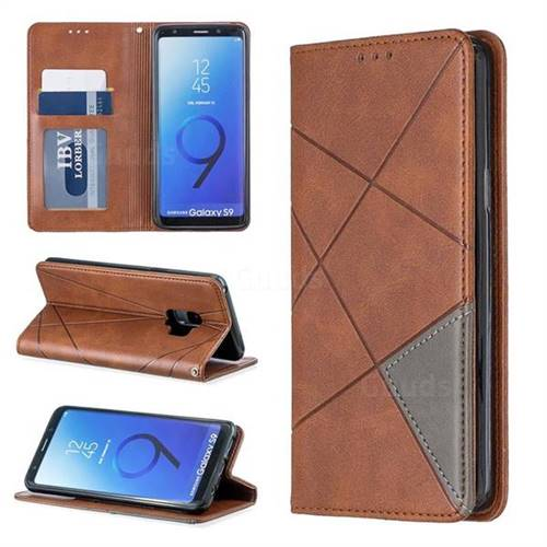 Prismatic Slim Magnetic Sucking Stitching Wallet Flip Cover for Samsung Galaxy S9 - Brown