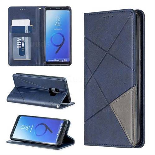 Prismatic Slim Magnetic Sucking Stitching Wallet Flip Cover for Samsung Galaxy S9 - Blue