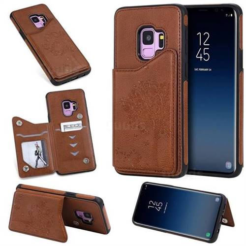 Luxury Tree and Cat Multifunction Magnetic Card Slots Stand Leather Phone Back Cover for Samsung Galaxy S9 - Brown