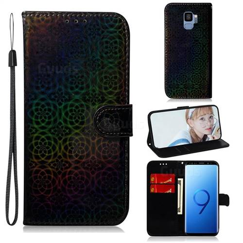 Laser Circle Shining Leather Wallet Phone Case for Samsung Galaxy S9 - Black