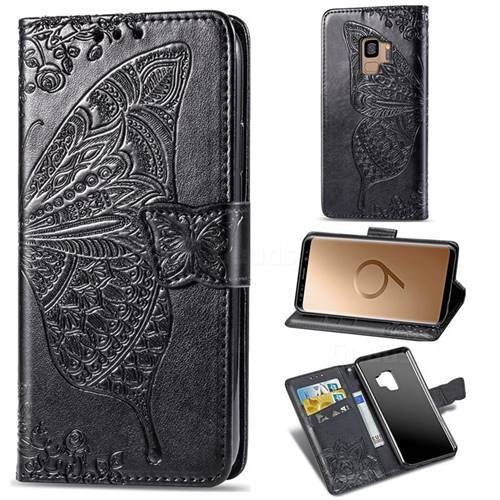 Embossing Mandala Flower Butterfly Leather Wallet Case for Samsung Galaxy S9 - Black