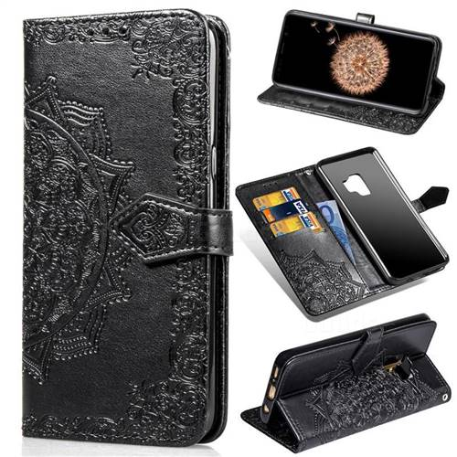 Embossing Imprint Mandala Flower Leather Wallet Case for Samsung Galaxy S9 - Black