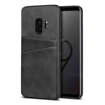 Simple Calf Card Slots Mobile Phone Back Cover for Samsung Galaxy S9 - Black