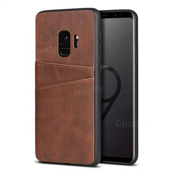 Simple Calf Card Slots Mobile Phone Back Cover for Samsung Galaxy S9 - Coffee