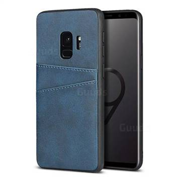 Simple Calf Card Slots Mobile Phone Back Cover for Samsung Galaxy S9 - Blue