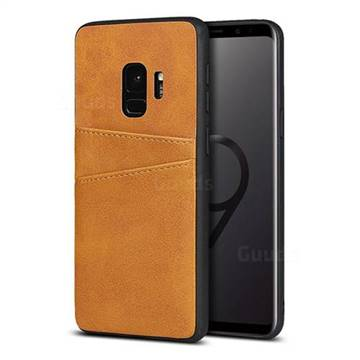 Simple Calf Card Slots Mobile Phone Back Cover for Samsung Galaxy S9 - Yellow