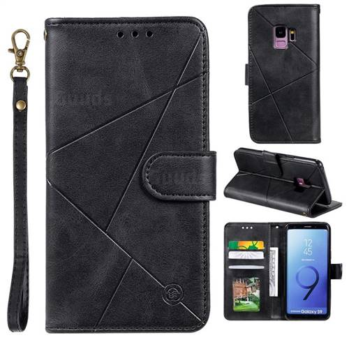 Embossing Geometric Leather Wallet Case for Samsung Galaxy S9 - Black