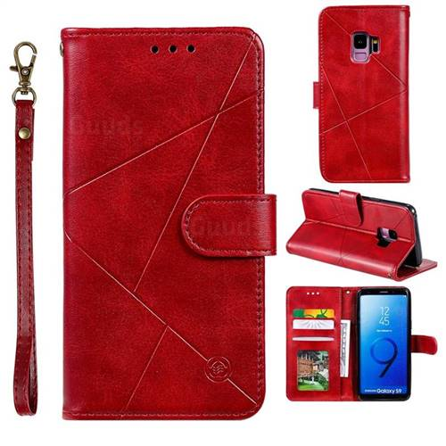 Embossing Geometric Leather Wallet Case for Samsung Galaxy S9 - Red