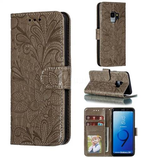 Intricate Embossing Lace Jasmine Flower Leather Wallet Case for Samsung Galaxy S9 - Gray
