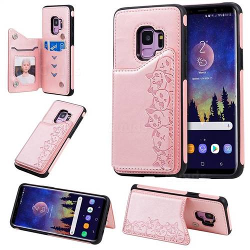 Yikatu Luxury Cute Cats Multifunction Magnetic Card Slots Stand Leather Back Cover for Samsung Galaxy S9 - Rose Gold