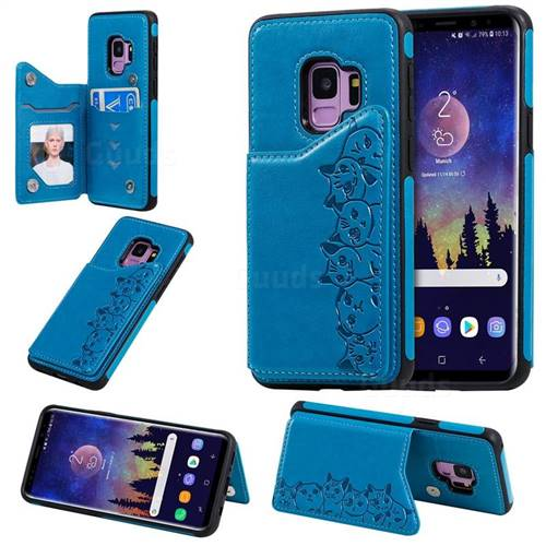 Yikatu Luxury Cute Cats Multifunction Magnetic Card Slots Stand Leather Back Cover for Samsung Galaxy S9 - Blue