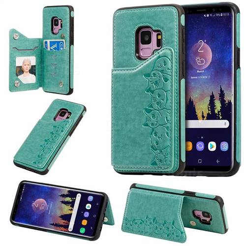 Yikatu Luxury Cute Cats Multifunction Magnetic Card Slots Stand Leather Back Cover for Samsung Galaxy S9 - Green