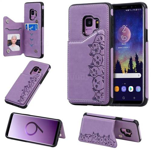 Yikatu Luxury Cute Cats Multifunction Magnetic Card Slots Stand Leather Back Cover for Samsung Galaxy S9 - Purple