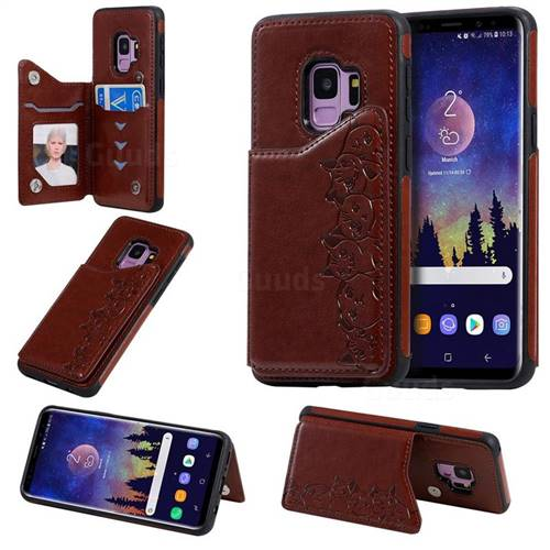 Yikatu Luxury Cute Cats Multifunction Magnetic Card Slots Stand Leather Back Cover for Samsung Galaxy S9 - Brown