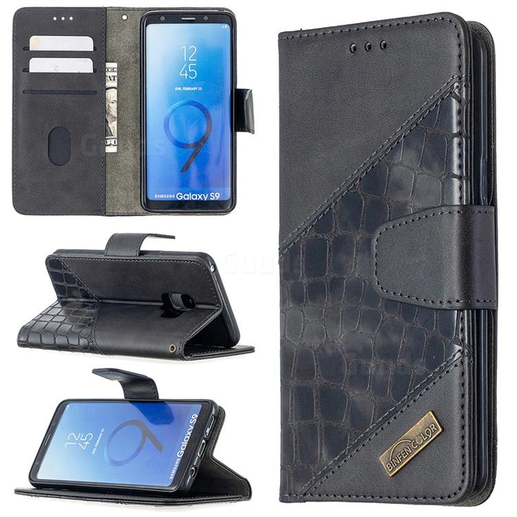 BinfenColor BF04 Color Block Stitching Crocodile Leather Case Cover for Samsung Galaxy S9 - Black