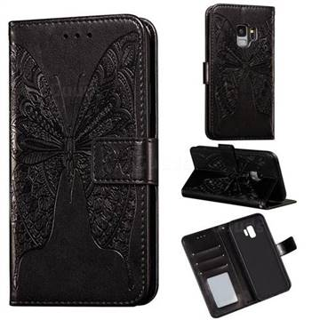 Intricate Embossing Vivid Butterfly Leather Wallet Case for Samsung Galaxy S9 - Black