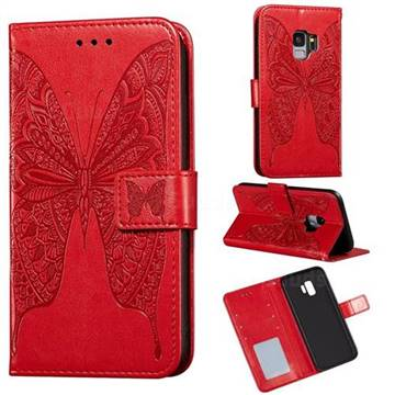 Intricate Embossing Vivid Butterfly Leather Wallet Case for Samsung Galaxy S9 - Red