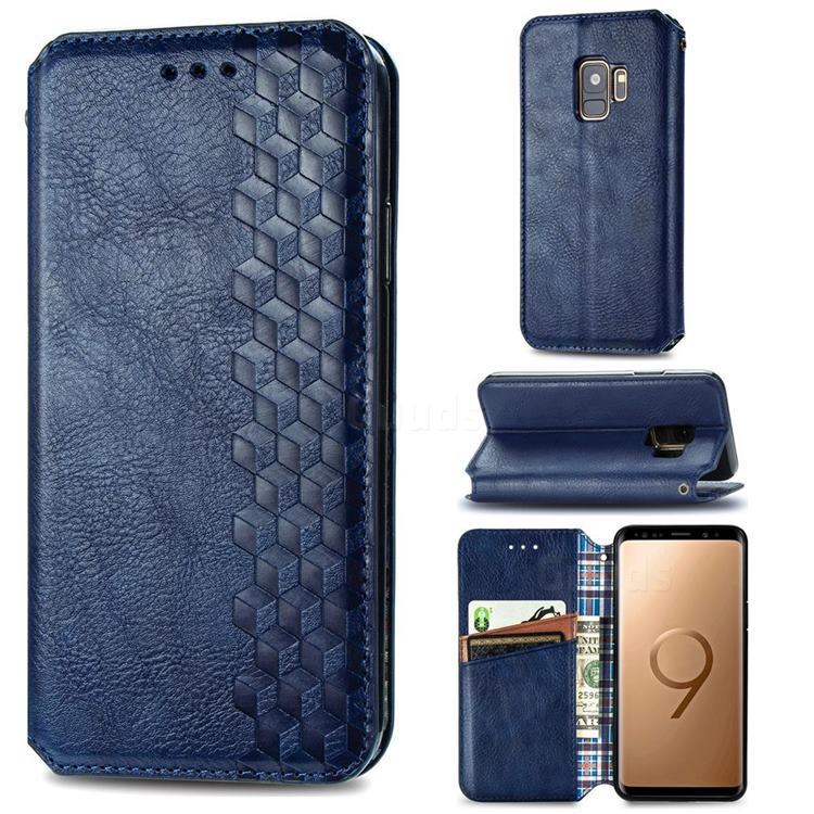 Ultra Slim Fashion Business Card Magnetic Automatic Suction Leather Flip Cover for Samsung Galaxy S9 - Dark Blue