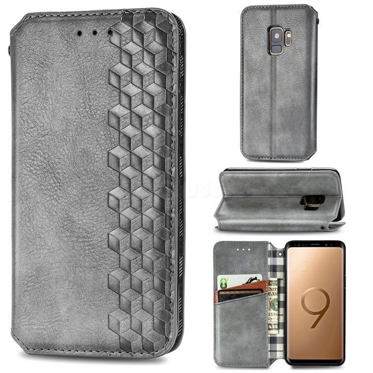 Ultra Slim Fashion Business Card Magnetic Automatic Suction Leather Flip Cover for Samsung Galaxy S9 - Grey