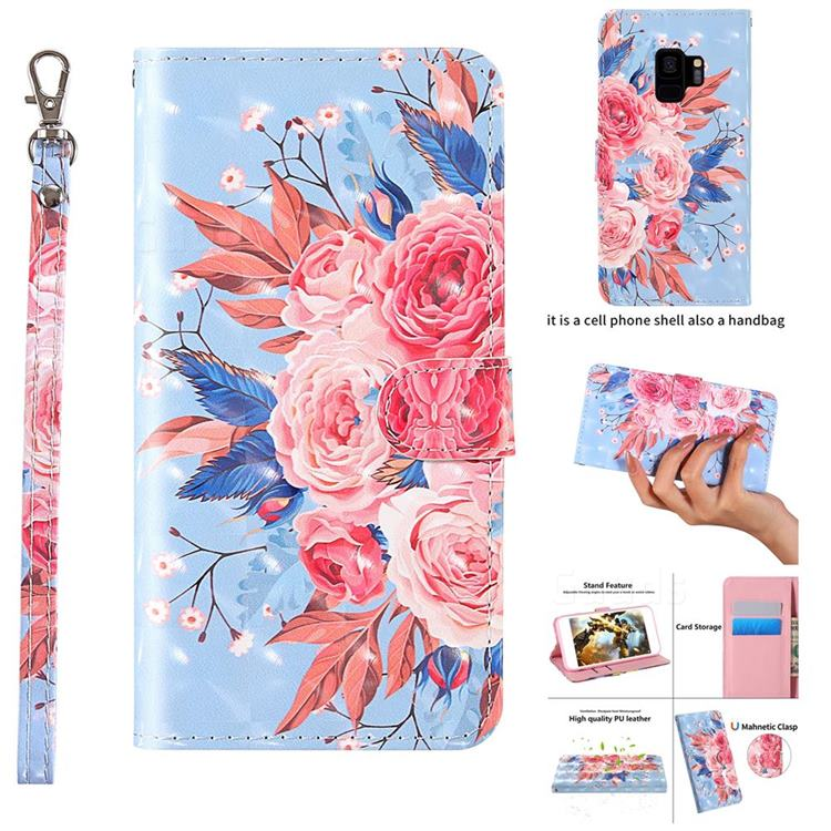Rose Flower 3D Painted Leather Wallet Case for Samsung Galaxy S9