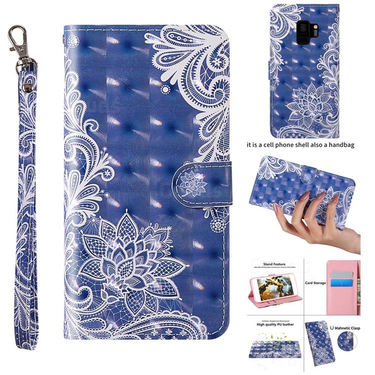 White Lace 3D Painted Leather Wallet Case for Samsung Galaxy S9