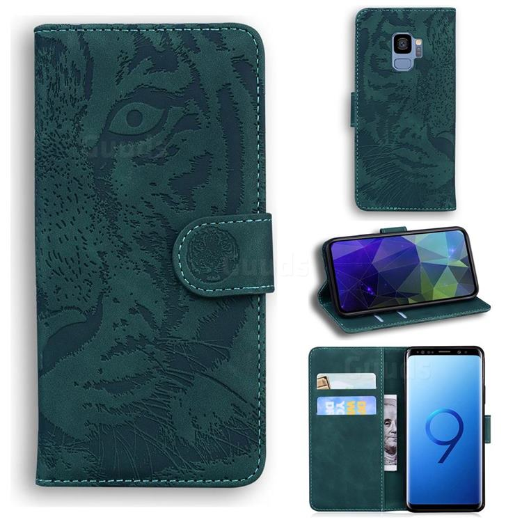 Intricate Embossing Tiger Face Leather Wallet Case for Samsung Galaxy S9 - Green