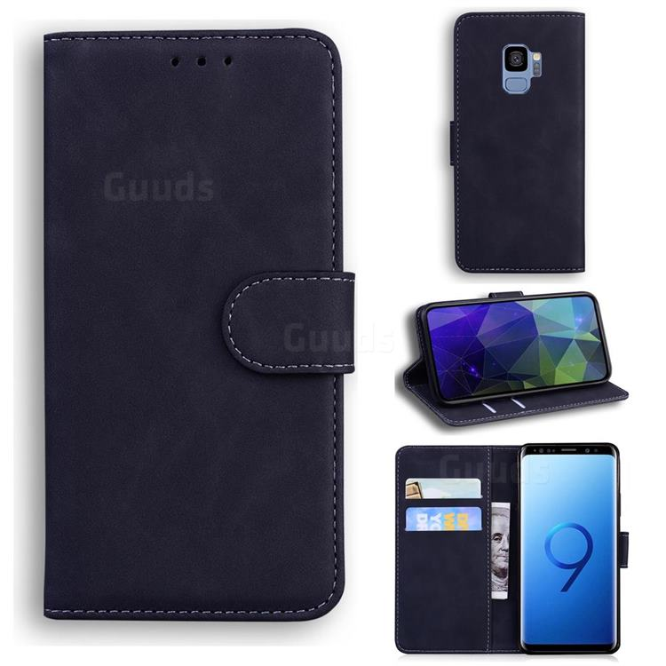 Retro Classic Skin Feel Leather Wallet Phone Case for Samsung Galaxy S9 - Black