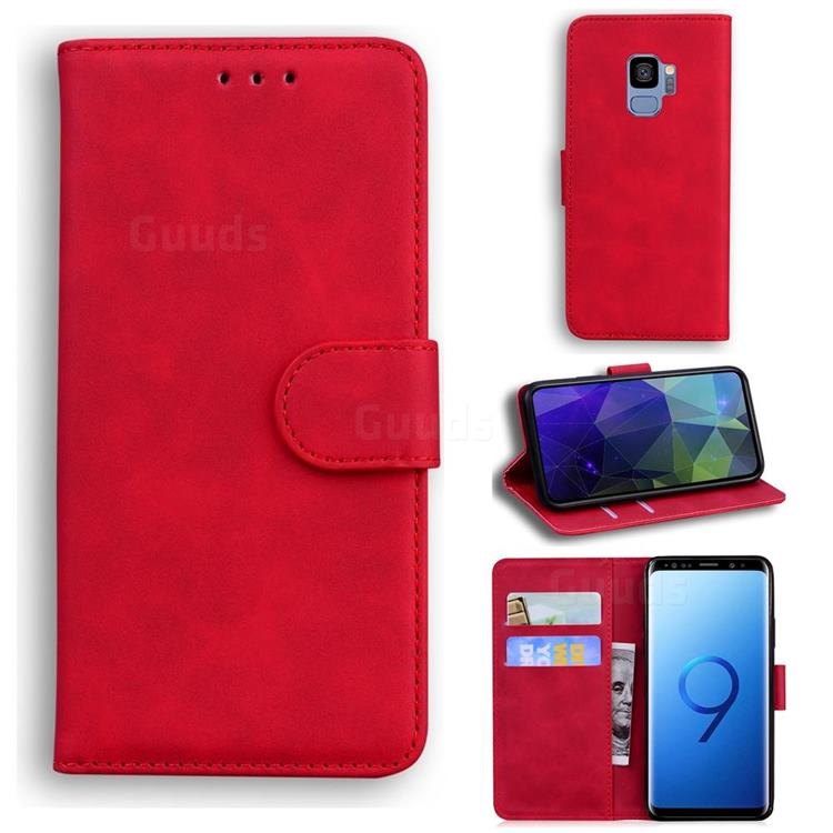 Retro Classic Skin Feel Leather Wallet Phone Case for Samsung Galaxy S9 - Red