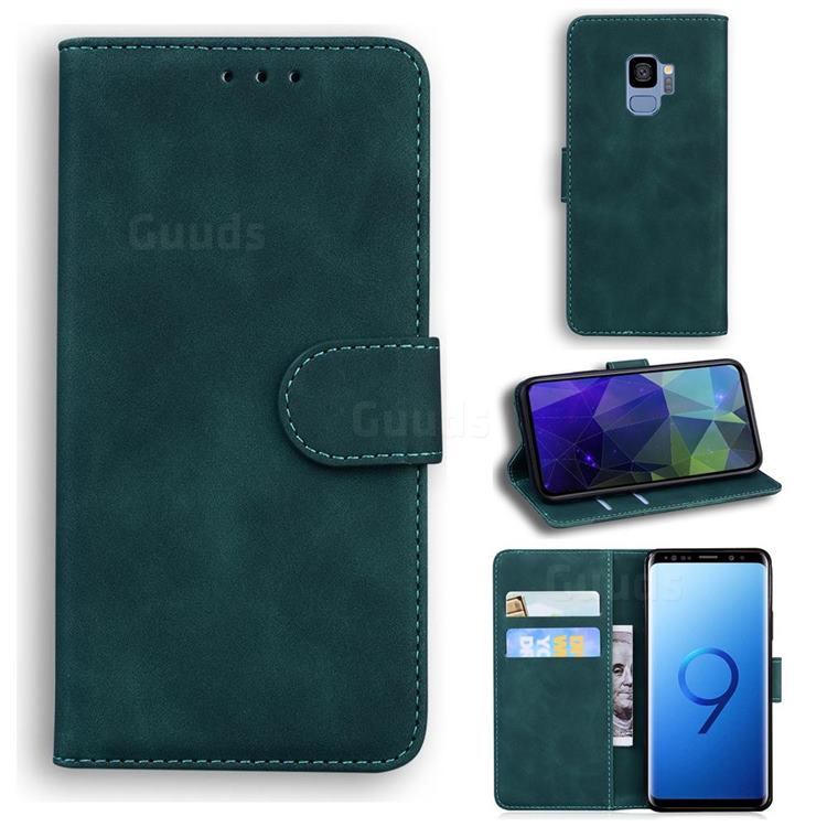 Retro Classic Skin Feel Leather Wallet Phone Case for Samsung Galaxy S9 - Green