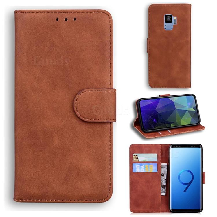 Retro Classic Skin Feel Leather Wallet Phone Case for Samsung Galaxy S9 - Brown