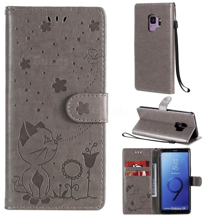Embossing Bee and Cat Leather Wallet Case for Samsung Galaxy S9 - Gray