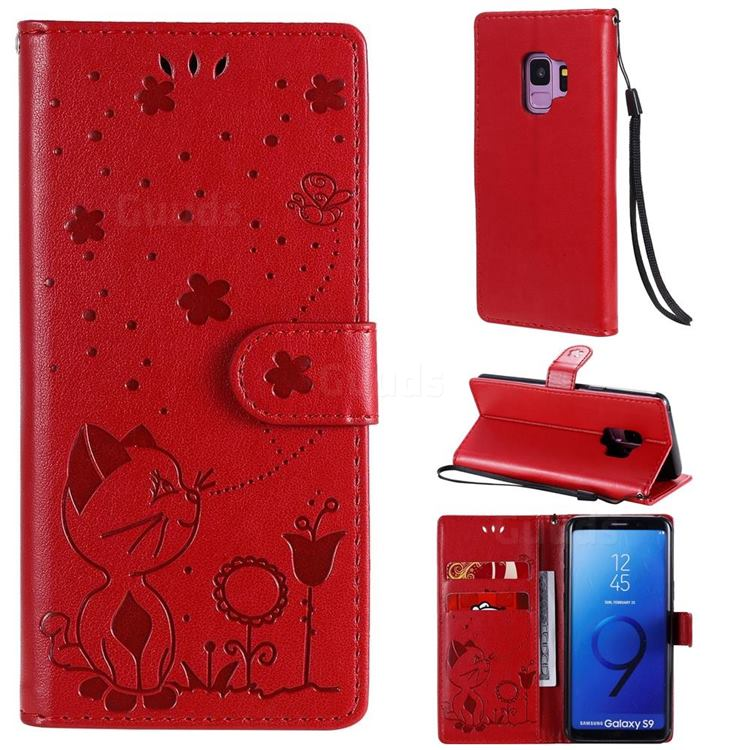 Embossing Bee and Cat Leather Wallet Case for Samsung Galaxy S9 - Red