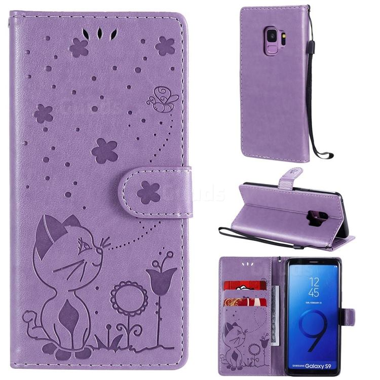Embossing Bee and Cat Leather Wallet Case for Samsung Galaxy S9 - Purple