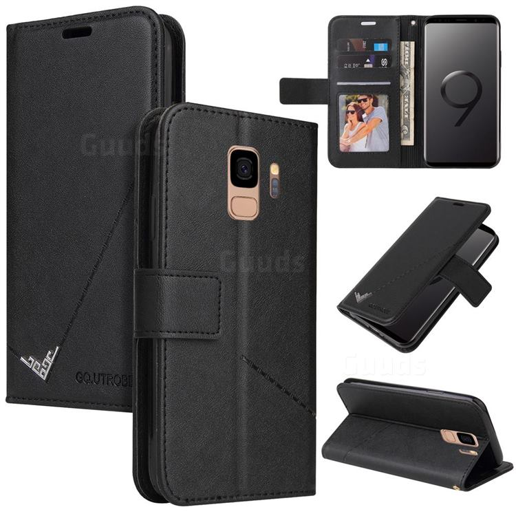 GQ.UTROBE Right Angle Silver Pendant Leather Wallet Phone Case for Samsung Galaxy S9 - Black