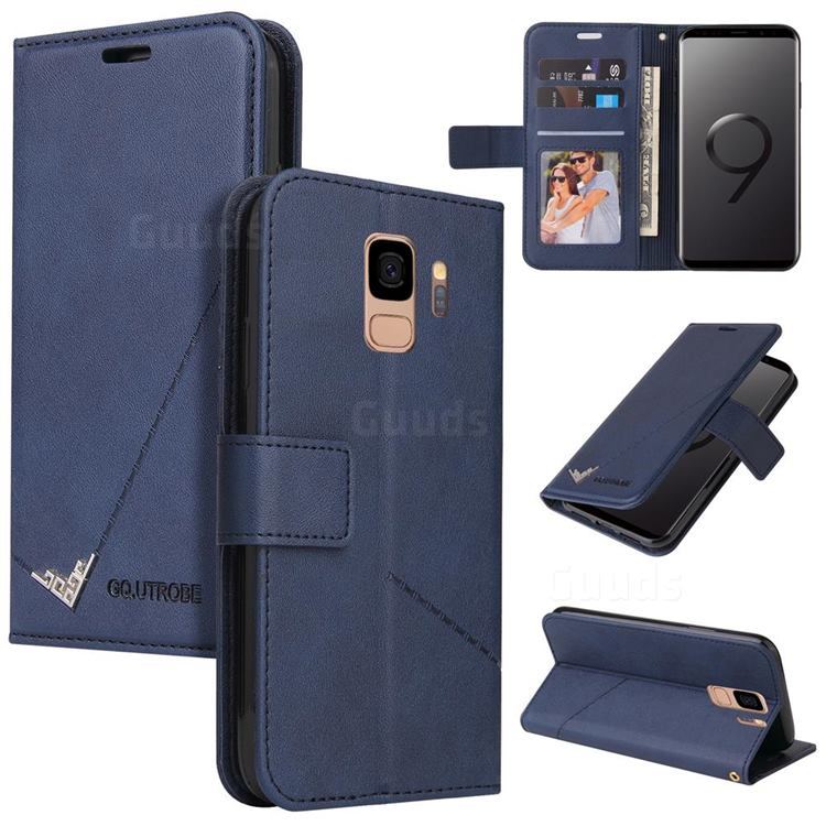 GQ.UTROBE Right Angle Silver Pendant Leather Wallet Phone Case for Samsung Galaxy S9 - Blue