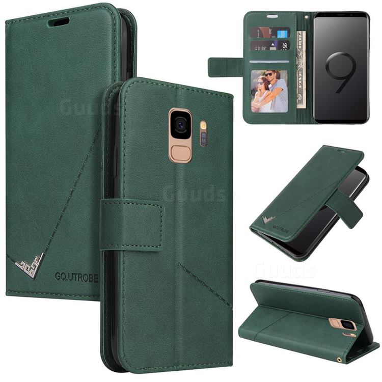 GQ.UTROBE Right Angle Silver Pendant Leather Wallet Phone Case for Samsung Galaxy S9 - Green
