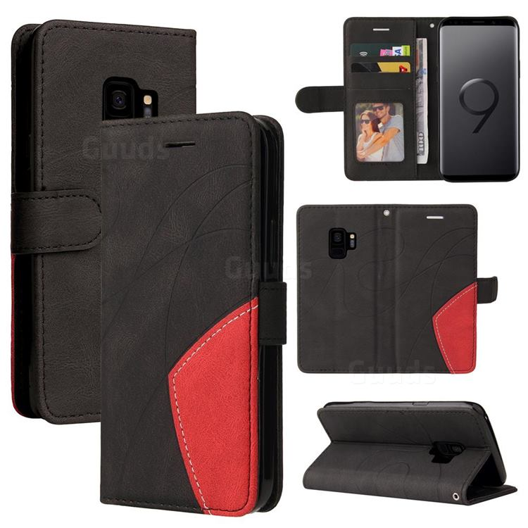 Luxury Two-color Stitching Leather Wallet Case Cover for Samsung Galaxy S9 - Black